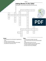 the building blocks of life, cells! crossword
