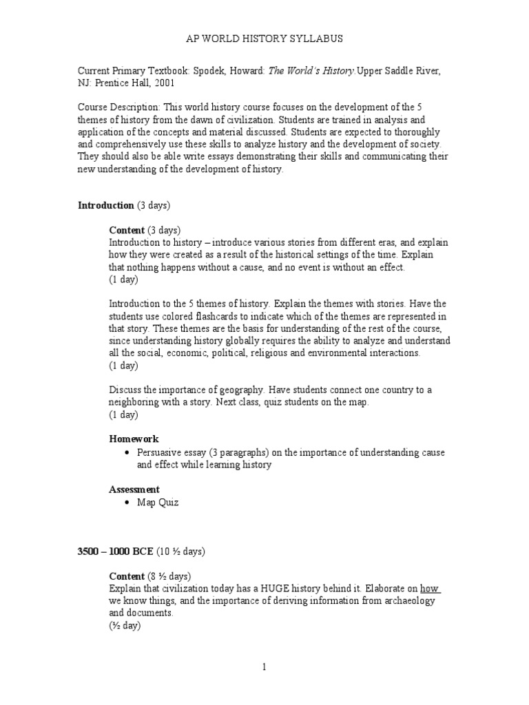 syllabusforapworldhistory civilization essays