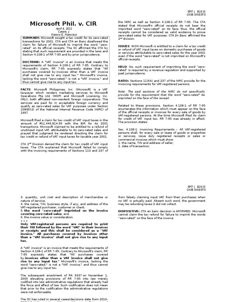 SPIT] [Microsoft Phil  v  CIR] [Francisco] | Value Added Tax | Invoice