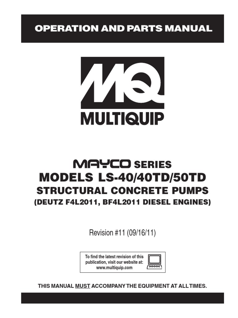 Pumps Concrete Mayco LS 40 40TD 50TD Manual DataId 18861