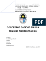 CONCEPTOS BASICOS DE UNA TESIS EN ADMINISTRACION