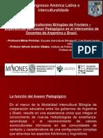 Experiencias Del Asesor Pedagógico en El Intercambio de Docentes de Argentina y Brasil
