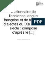 Dictionnaire Français Ancien