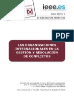 Las Organizaciones Internacionales en La Gestion y Resolucion de Conflictos