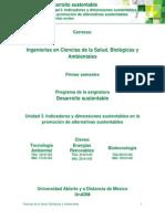 Unidad 3. Indicadores y Dimensiones Sustentables en La Promoción de Alternativas Sustentables