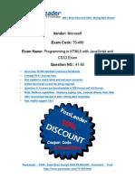(New Updated) New 100 Percent Pass Guaranteed 70-480 Premium Braindumps (Q41-Q60)