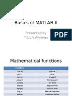 Basics of Matlab-II