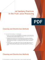 Hygiene and Sanitary Practices in the Fruit Juice