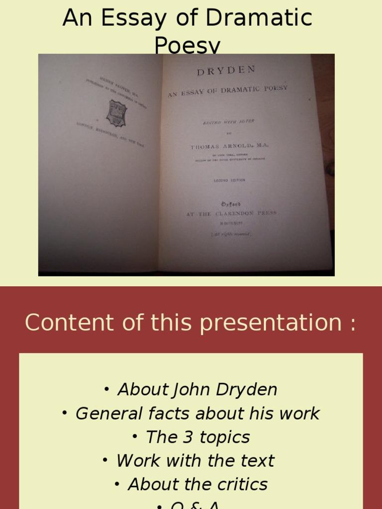An Essay of Dramatic Poesy - John Dryden - Google Books