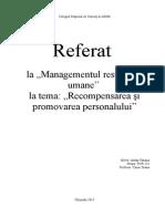 Recompensarea Si Stimularea Personalului