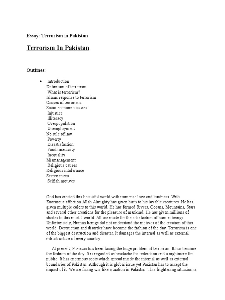 essay terrorism in pakistan with outline