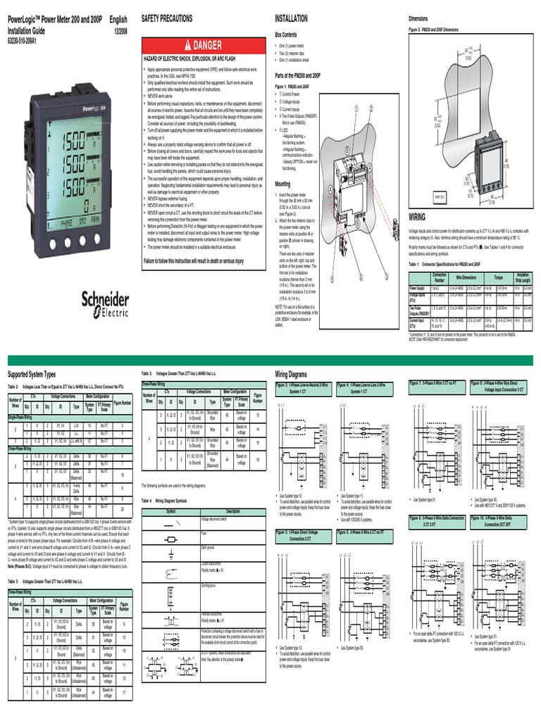 Installation Guide Pm200 Electrical Engineering Electricity CT Components Diagram Powerlogic Ct Wiring