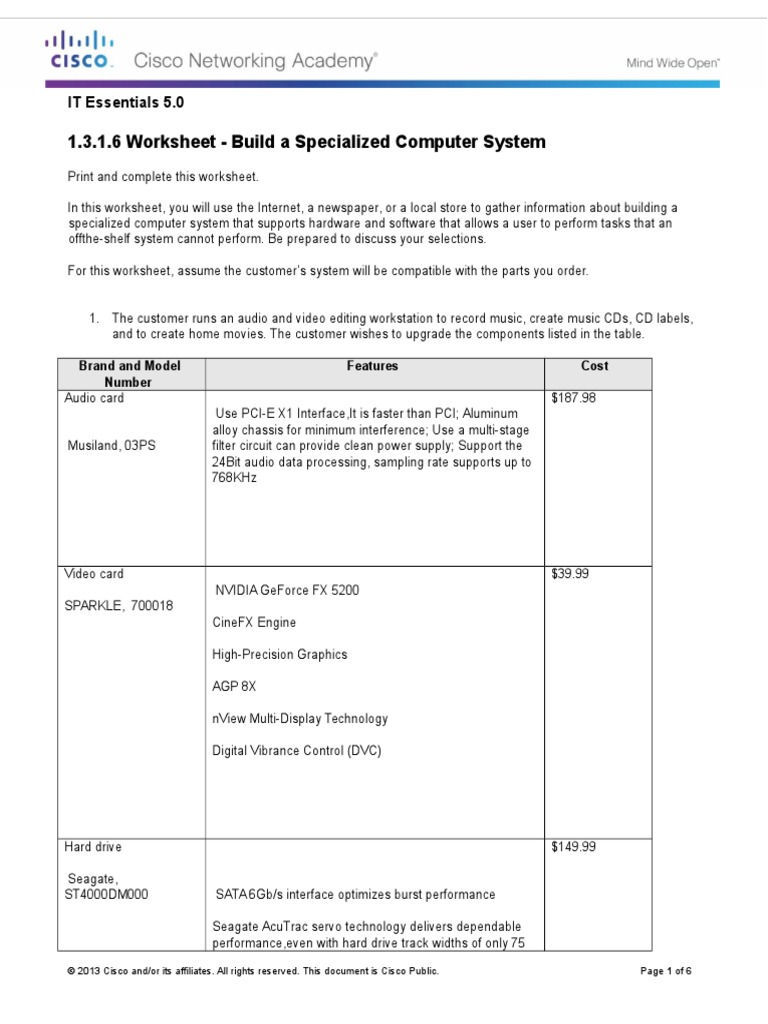 1316 Worksheet Build A Specialized Computer System Graphics