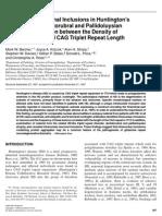 Intranuclear Neuronal Inclusions in Huntingtons Disease and Dentatorubral