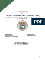 Marketing Strategies of Maruti (Dk)