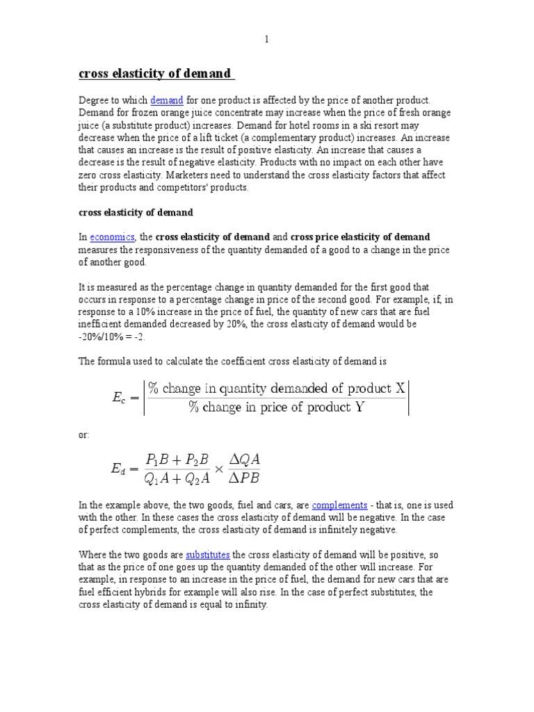Cross Elasticity Of Demand Demand Price Elasticity Of Demand