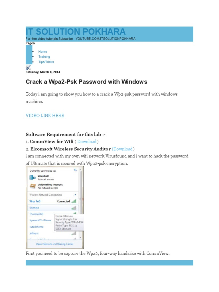 How To Crack Wpa2psk Wifi Password In Windows How to Crack a