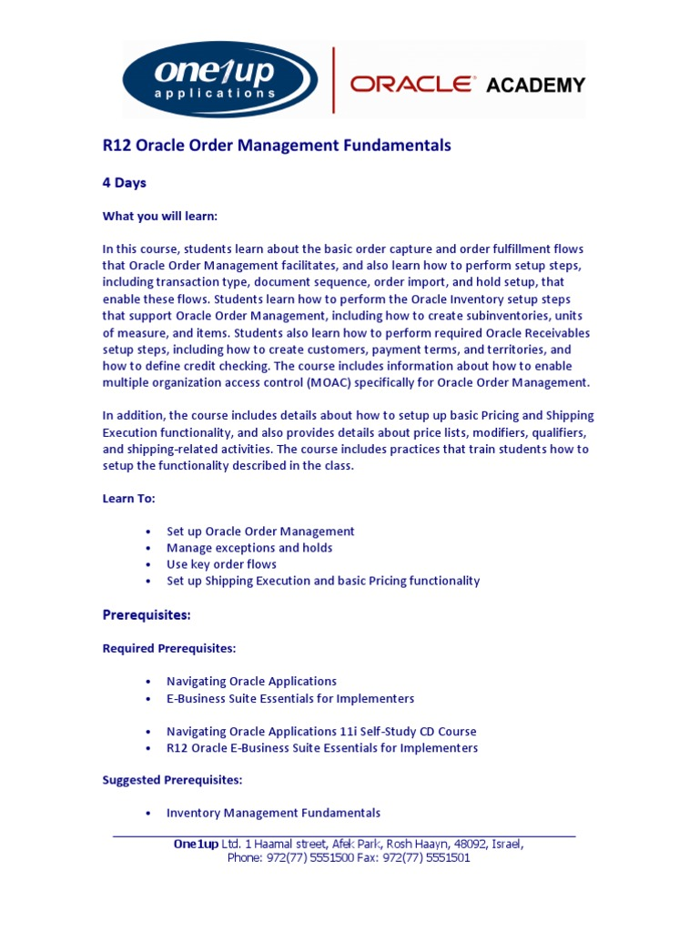R12 Oracle Order Management Fundamentals | Inventory | Electronic Business