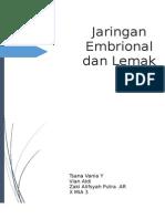 Pengertian Jaringan Embrional Dan Lemak