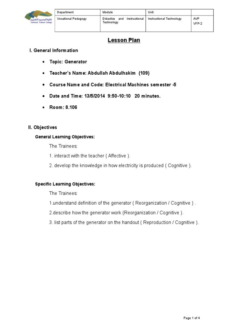 Lesson Plan Educational Technology Electric Generator Parts Of Electrical