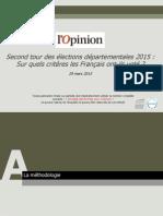 Sondage OpinionWay pour l'Opinion, analyse du second tour des élections départementales