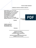 Notice of Appeal and Petition for Discretionary Review, Kirby v North Carolina Dep't of Transportation, No. ___ (Mar. 24, 2015)