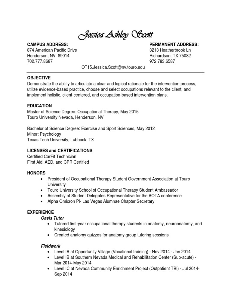 Resume Mar 4 Occupational Therapy Physical Therapy