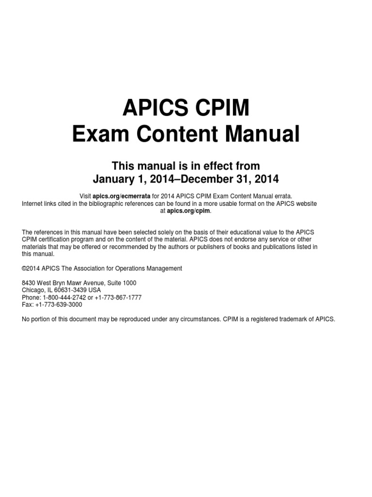 Exam Content Manual Supply Chain Management Strategic Management