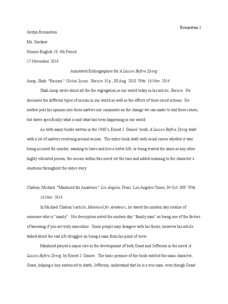 racism in a lesson before dying essay