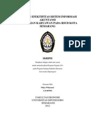 Analisis Efektifitas Sistem Informasi Akuntansi Penggajian Karyawan Pada Rsud Kota Semarang