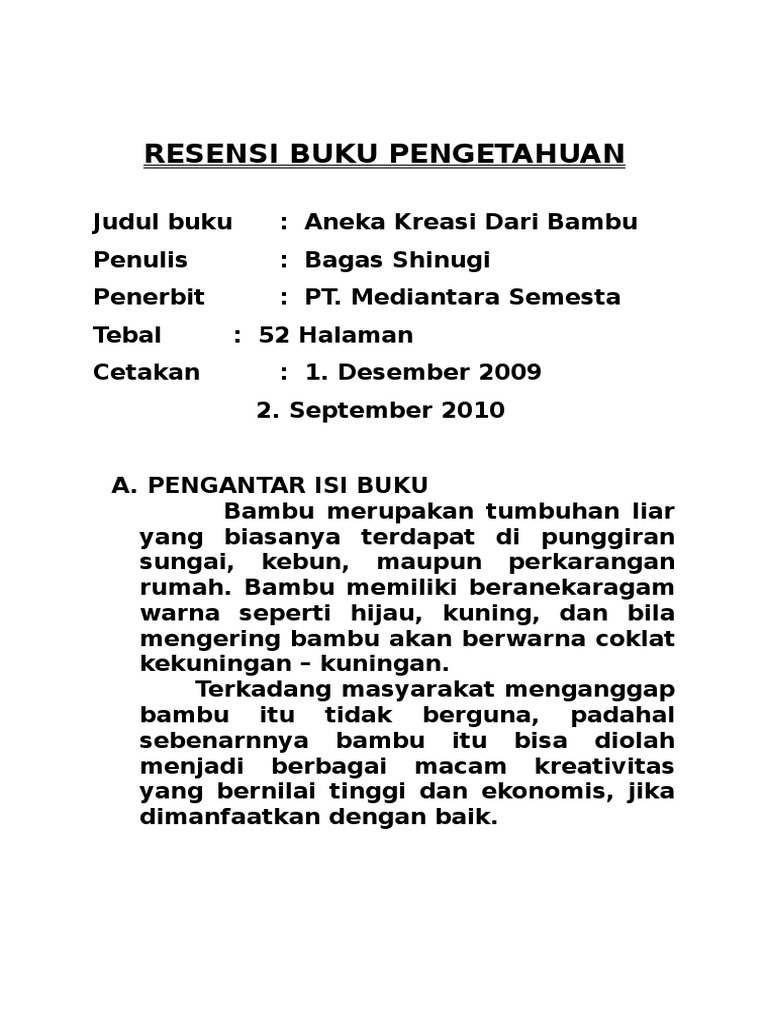 Famous Cara Membuat Resensi Buku Pdf Contemporary - Entry Level ...