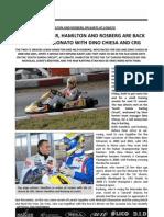 Hamilton and Rosberg on Karts at Lonato