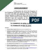 HRVCB Publication Announcement for 2015
