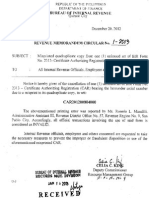 RMC 1-2013 Notifies the Cancellation of 1 Unissued Set of BIR Form No. 2313