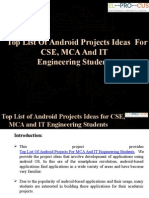 Top List of Android Projects Ideas for CSE, MCA and IT Engineering Students