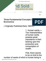 Three Fundamental Concepts of Economics