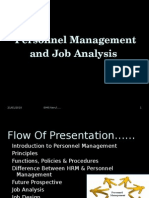 Personnel Management and Job Analysis