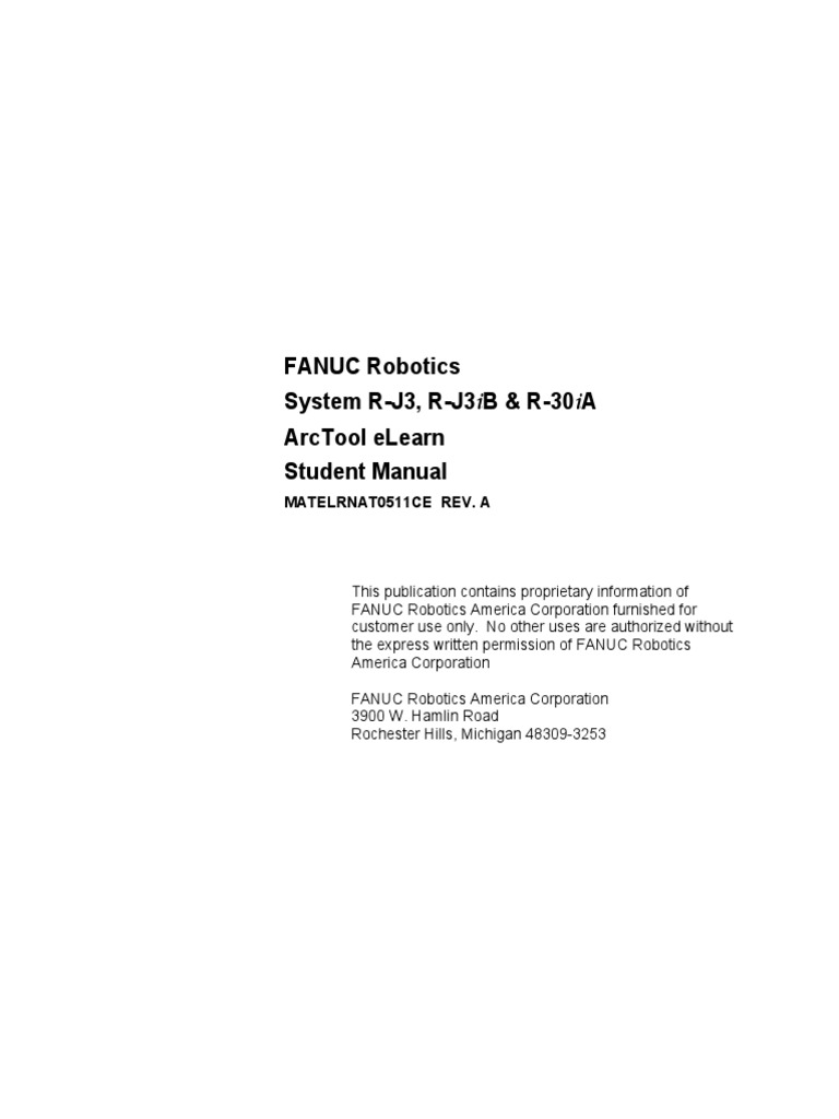 Fanuc R J3, R J3iB, R 30iA Student Manual | Cartesian Coordinate System |  Input/Output