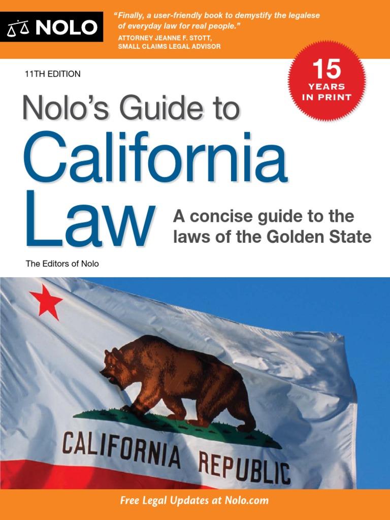 Nolo Press Guide To California Law 11th 2011 Domestic