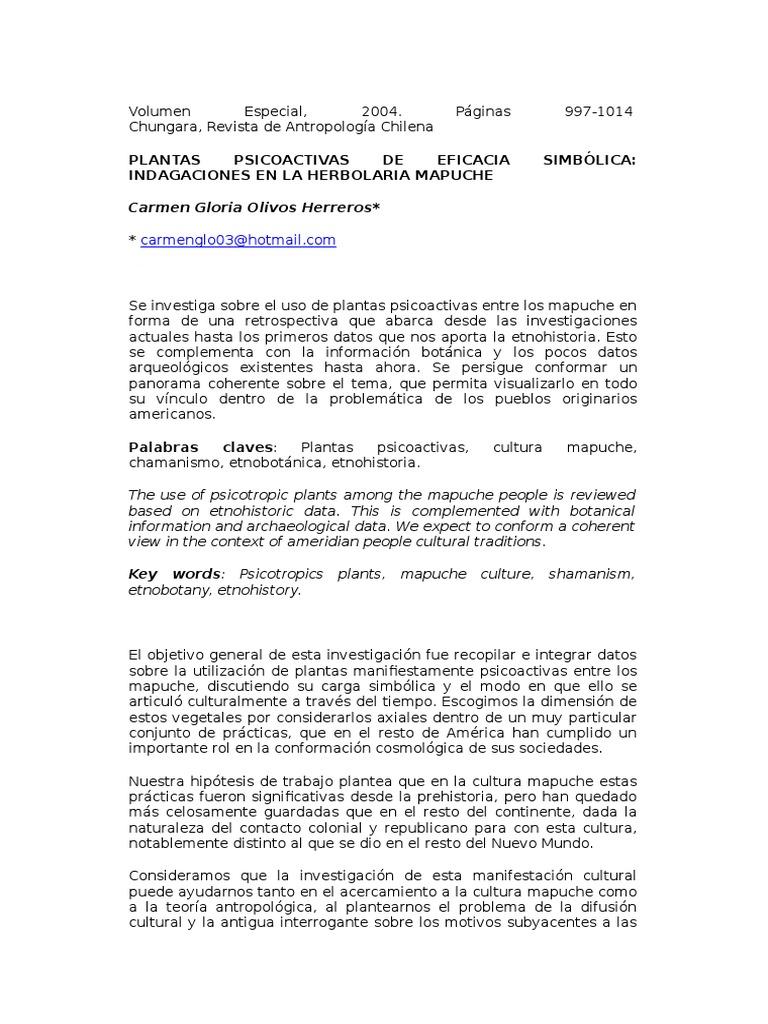Plantas Psicoactivas de Eficacia Simbólica Indagaciones en La Herbolaria  Mapuche