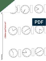 Fichas de trabajo para repaso del reloj