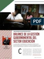 Balance de la gestión gubernamental del sector Educación