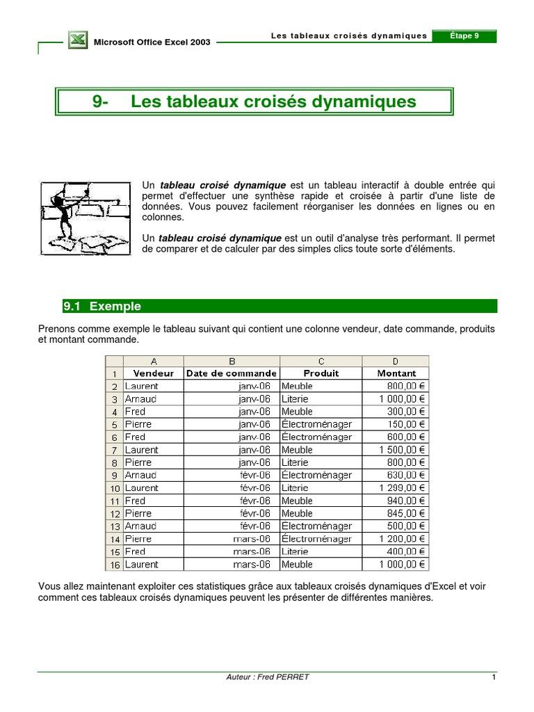 Les Tableaux Croises Dynamiques Pdf