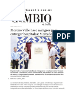 26-03-2015 Diario Matutino Cambio - Moreno Valle Hace Milagros Para Entregar Hospitales; Mercedes Juan