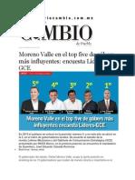 26-03-2015 Diario Matutino Cambio - Moreno Valle en El Top Five de Góbers Más Influyentes; Encuesta Líderes-GCE