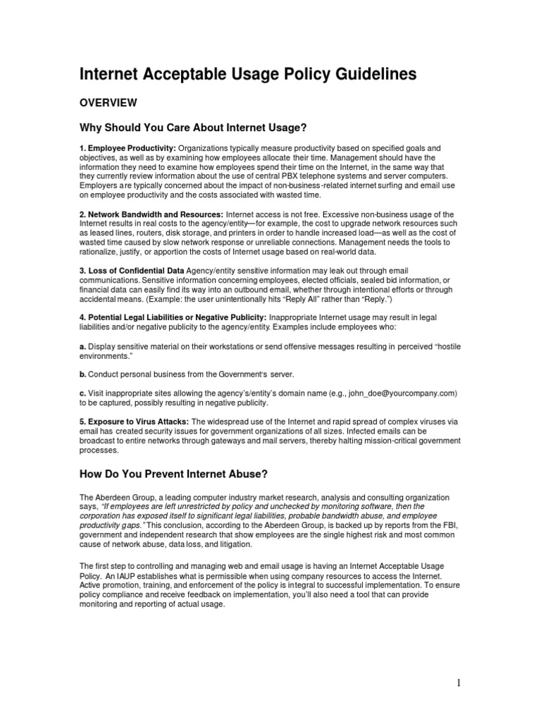 internet usage policy computer security online safety privacy