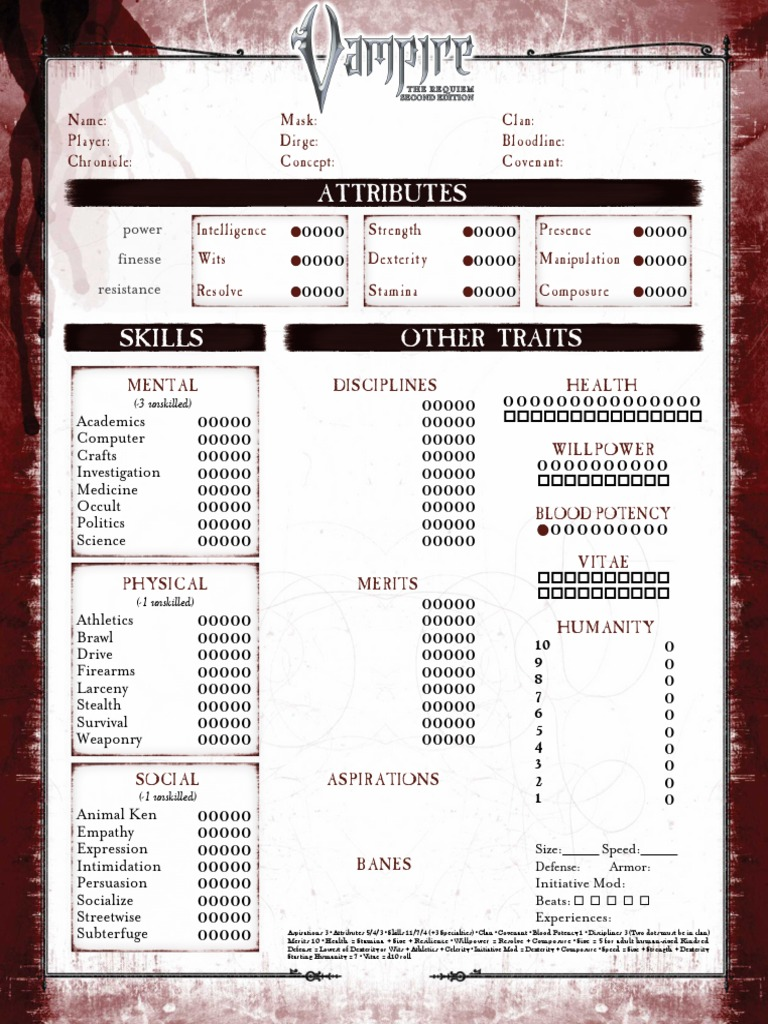 Vampire The Requiem 2nd Edition - Interactive Character Sheet