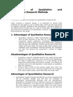Comparison of Qualitative and Quantitative Research Methods