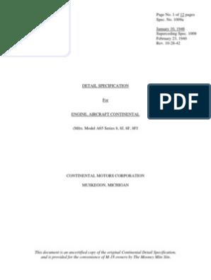 CONTINENTAL A65 AIRCRAFT ENGINE SPECS | Carburetor | Fuel
