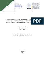 Limba Latina Programa Titularizare 2010 P